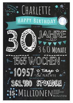 Meilensteintafel Geschenk 30. Geburtstag Personalisiert Frau Mann Geburtstagstafel Chalkboard Zahlenspaß