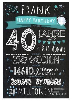 Meilensteintafel Geschenk 40. Geburtstag Personalisiert Frau Mann Geburtstagstafel Chalkboard Zahlenspaß