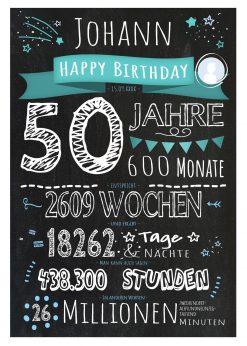 Meilensteintafel Geschenk 50. Geburtstag Personalisiert Frau Mann Geburtstagstafel Chalkboard Zahlenspaß