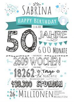 Meilensteintafel Geschenk 50. Geburtstag Personalisiert Frau Mann Geburtstagstafel Chalkboard Zahlenspaß Weiß