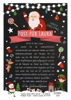 Personalisierter Brief Vom Weihnachtsmann Post Vorlage Zum Ausdrucken Chalkboard Meilensteintafel Weihnachten Rot