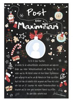 Post Brief Vom Weihnachtsmann Personalisiert Meilensteintafel Tierische Weihnachten Kreidetafel Chalkboard