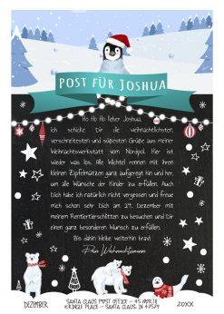 Brief Vom Weihnachtsmann Post Vorlage Zum Ausdrucken Meilensteintafel Personalisierbar Nordpol Türkis