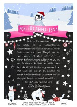 Brief Vom Weihnachtsmann Post Vorlage Zum Ausdrucken Meilensteintafel Personalisierbar Nordpol Pink