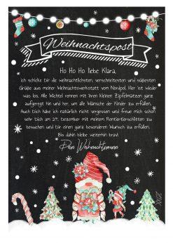Brief Vom Weihnachtsmann Post Vorlage Zum Ausdrucken Personalisiert Chalkboard Meilensteintafel Weihnachten Wichtel
