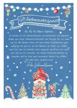 Brief Vom Weihnachtsmann Post Vorlage Zum Ausdrucken Personalisiert Chalkboard Meilensteintafel Weihnachten Wichtel Blau