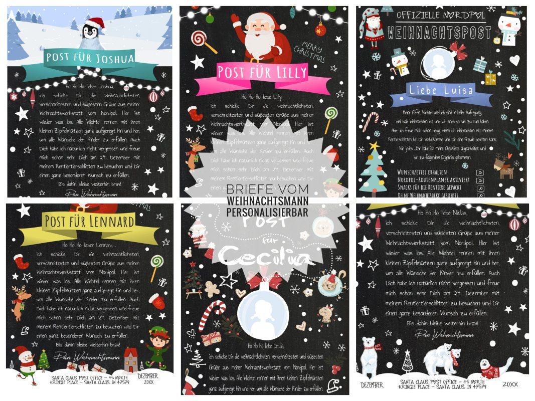 Brief Vom Weihnachtsmann Post Vorlage Zum Selber Ausdrucken Meilensteintafel Chalkboard Personalisierbar
