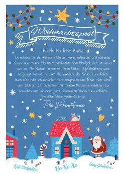 Brief Vom Weihnachtsmann Vorlage Post Zum Ausdrucken Personalisiert Meilensteintafel Chalkboard Blaue Weihnachten 2
