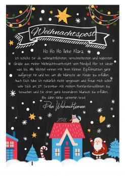 Brief Vom Weihnachtsmann Vorlage Post Zum Ausdrucken Personalisiert Meilensteintafel Chalkboard Blaue Weihnachten Design 2