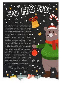 Brief Vom Weihnachtsmann Vorlage Post Zum Ausdrucken Personalisierbar Meilensteintafel Chalkboard Weihnachtsbär