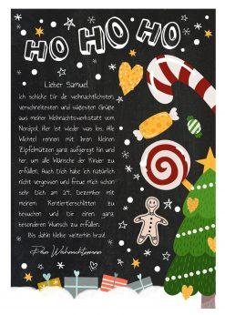 Brief Vom Weihnachtsmann Vorlage Post Zum Ausdrucken Personalisierbar Meilensteintafel Chalkboard Weihnachtscandy