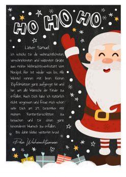 Brief Vom Weihnachtsmann Vorlage Post Zum Ausdrucken Personalisierbar Meilensteintafel Chalkboard Weihnachtsmann