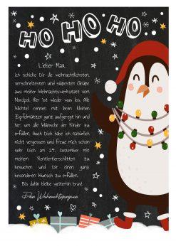 Brief Vom Weihnachtsmann Vorlage Post Zum Ausdrucken Personalisierbar Meilensteintafel Chalkboard Weihnachtspinguin