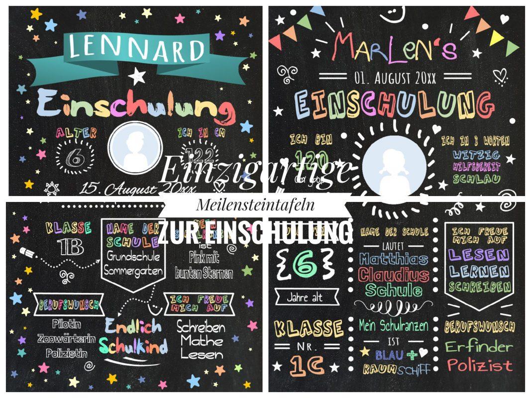 Einschulung Meilensteintafel Chalkboard Geschenk Personalisiert Mädchen Junge 01