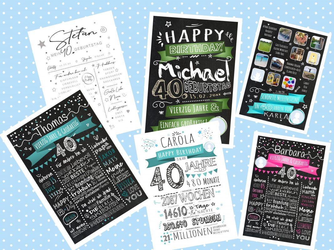 Geschenke Zum 40. Geburtstag Meilensteintafel Chalkboard Personalisierbar Mann Frau Geburtstagstafel