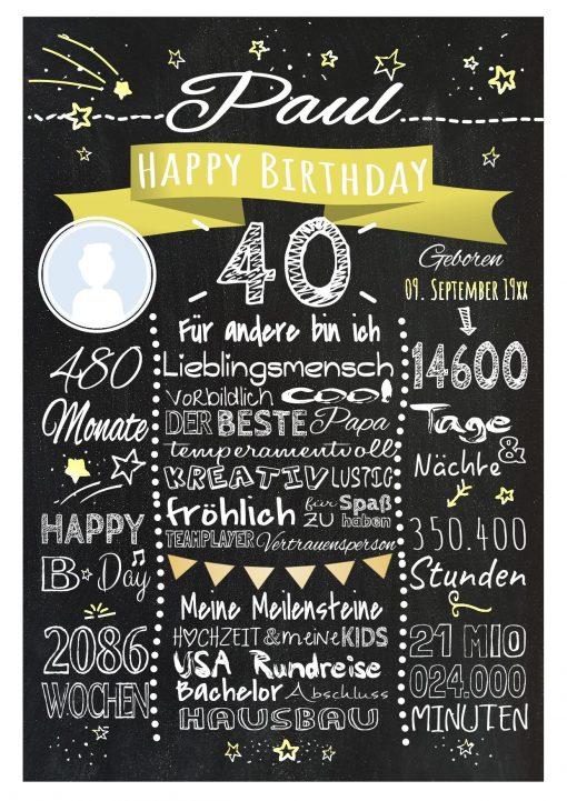 Meilensteintafel 40. Geburtstag Geschenk Personalisiert Mann Frau Chalkboard Geburtstagsfreude Gelb