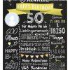 Meilensteintafel 50. Geburtstag Geschenk Personalisiert Mann Frau Chalkboard Geburtstagsfreude Gelb