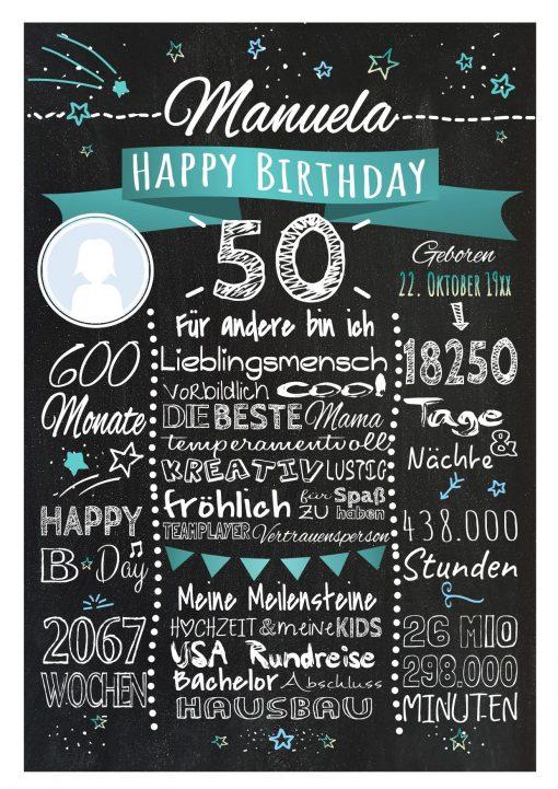 Meilensteintafel 50. Geburtstag Geschenk Personalisiert Mann Frau Chalkboard Geburtstagsfreude Türkis