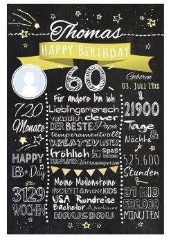 Meilensteintafel 60. Geburtstag Geschenk Personalisiert Mann Frau Chalkboard Geburtstagsfreude Gelb