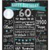 Meilensteintafel 60. Geburtstag Geschenk Personalisiert Mann Frau Chalkboard Geburtstagsfreude Türkis