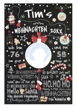 Meilensteintafel Babys Erstes Weihnachten Geschenk Personalisiert Kreidetafel Junge X Mas Design 2