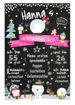 Meilensteintafel Babys Erstes Weihnachten Geschenk Personalisiert Kreidetafel Mädchen X Mas Design 1