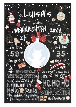 Meilensteintafel Babys Erstes Weihnachten Geschenk Personalisiert Kreidetafel Mädchen X Mas Design 2