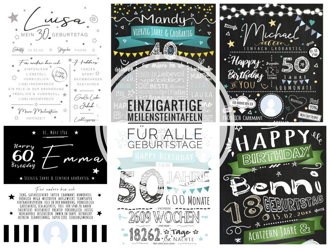 Meilensteintafel Geburtstag Geschenk Erwachsene Personalisiert Chalkboard 01