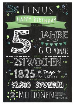 Meilensteintafel Geschenk 5. Geburtstag Personalisiert Junge Mädchen Geburtstagstafel Chalkboard Zahlenspaß Grün