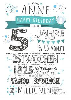 Meilensteintafel Geschenk 5. Geburtstag Personalisiert Junge Mädchen Geburtstagstafel Chalkboard Zahlenspaß Weiß
