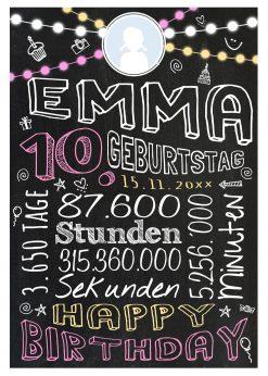 Meilensteintafel Geschenk Zum 10. Geburtstag Mädchen Junge Personalisiert Geburtstagstafel Retro Colors Rosa