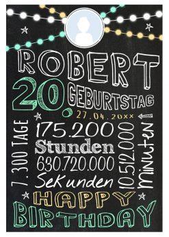 Meilensteintafel Geschenk Zum 20. Geburtstag Frau Mann Personalisiert Geburtstagstafel Retro Colors Grün