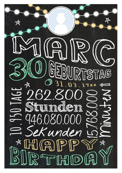 Meilensteintafel Geschenk Zum 30. Geburtstag Frau Mann Personalisiert Geburtstagstafel Retro Colors Grün