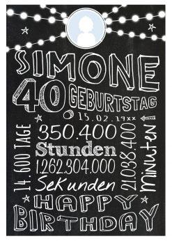 Meilensteintafel Geschenk Zum 40. Geburtstag Frau Mann Personalisiert Geburtstagstafel Retro Colors Weiß