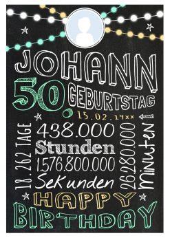 Meilensteintafel Geschenk Zum 50. Geburtstag Frau Mann Personalisiert Geburtstagstafel Retro Colors Grün