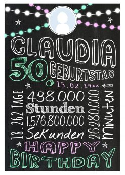 Meilensteintafel Geschenk Zum 50. Geburtstag Frau Mann Personalisiert Geburtstagstafel Retro Colors Rosa