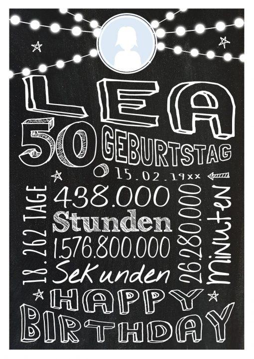 Meilensteintafel Geschenk Zum 50. Geburtstag Frau Mann Personalisiert Geburtstagstafel Retro Colors Weiß