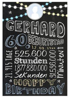 Meilensteintafel Geschenk Zum 60. Geburtstag Frau Mann Personalisiert Geburtstagstafel Retro Colors Blau