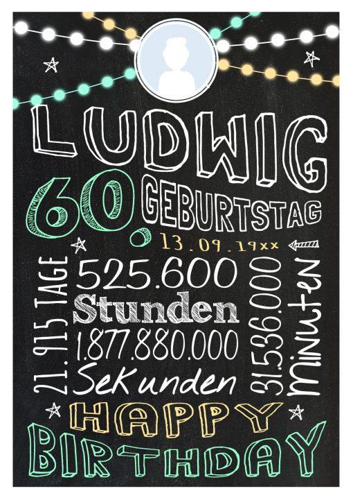 Meilensteintafel Geschenk Zum 60. Geburtstag Frau Mann Personalisiert Geburtstagstafel Retro Colors Grün
