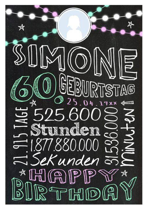 Meilensteintafel Geschenk Zum 60. Geburtstag Frau Mann Personalisiert Geburtstagstafel Retro Colors Rosa