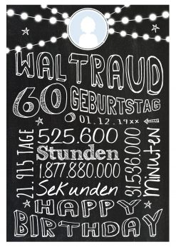 Meilensteintafel Geschenk Zum 60. Geburtstag Frau Mann Personalisiert Geburtstagstafel Retro Colors Weiß
