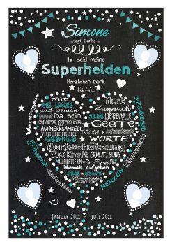 Meilensteintafel Für Krankenpfleger Altenpfleger Danke Geschenk Personalisiert Chalkboard Türkis