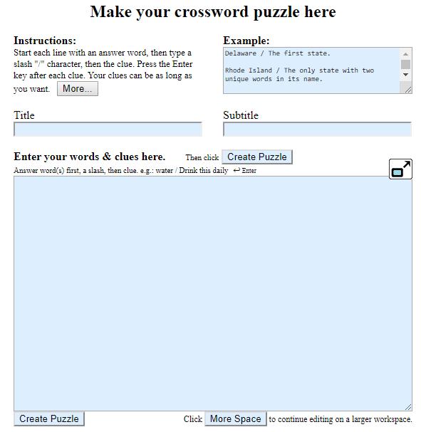 eigenes Kreuzworträtsel erstellen