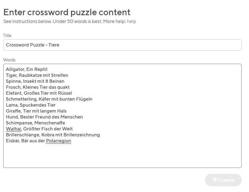 Kreuzworträtsel kostenlos erstellen