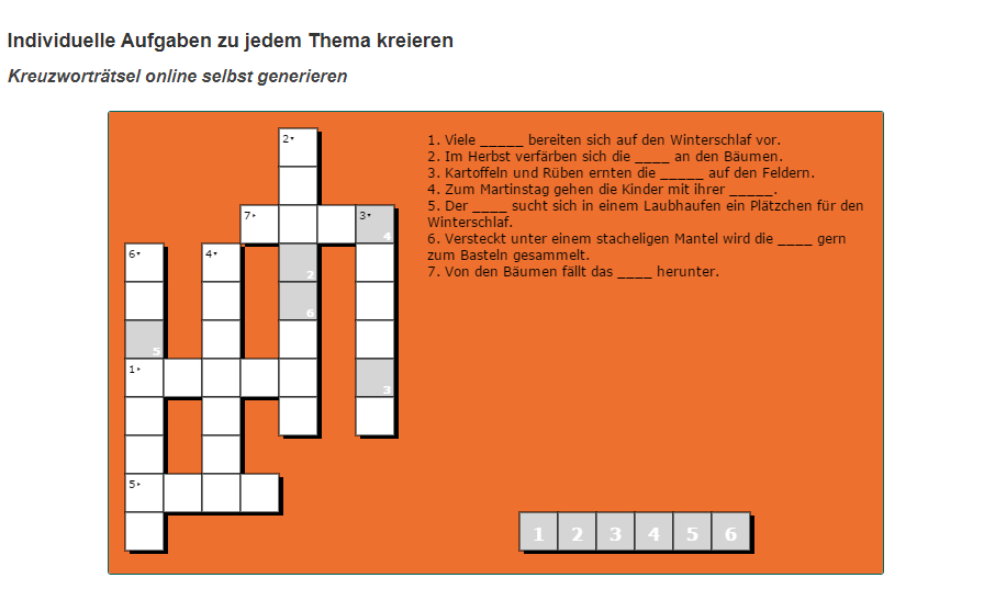 Kreuzworträtsel generator deutsch