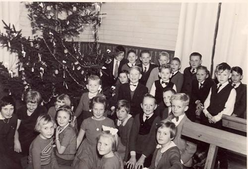 Julfest i Krokshults Missionshus omkring 1960.