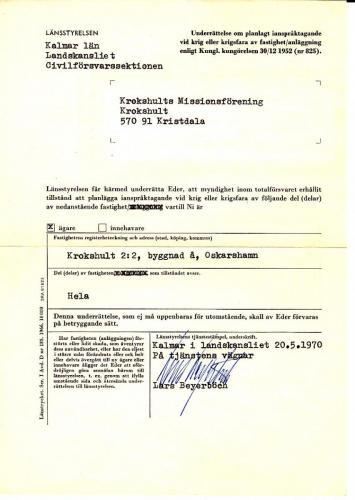 Civilförsvarets avtal med Missionsföreningen