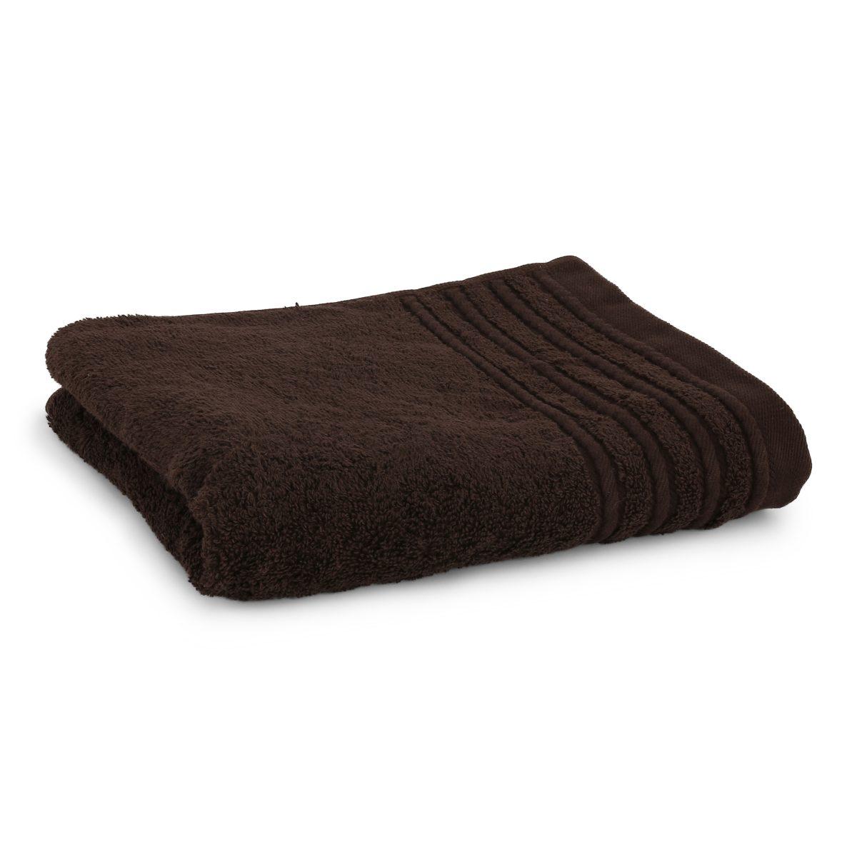 Håndklæde med broderet navn - brun