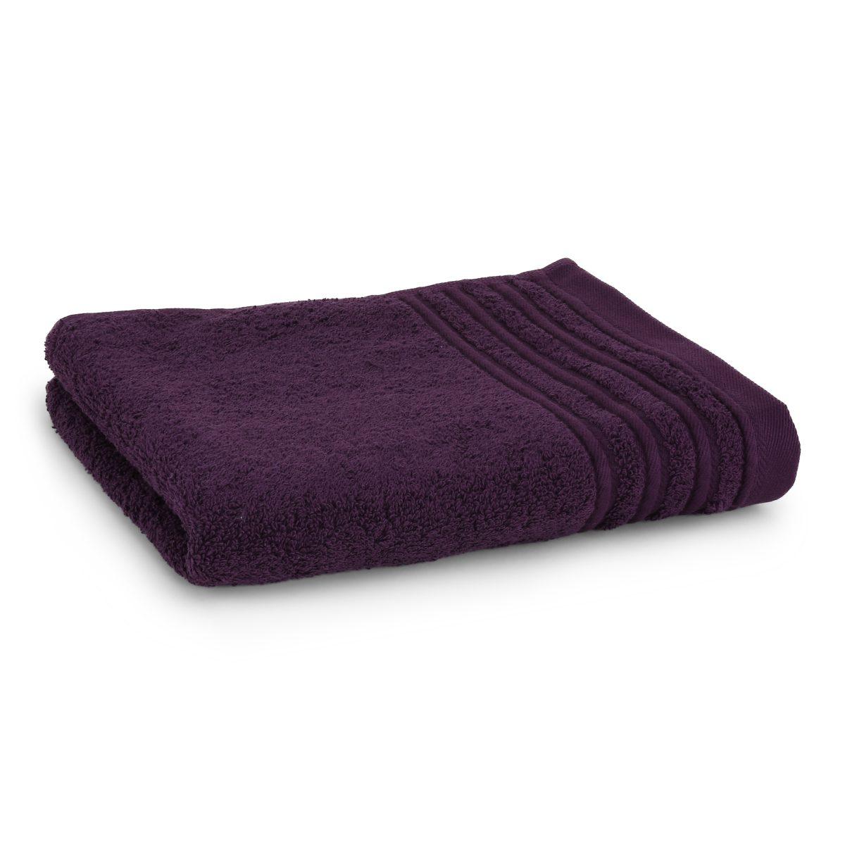 Håndklæde med broderet navn - lilla