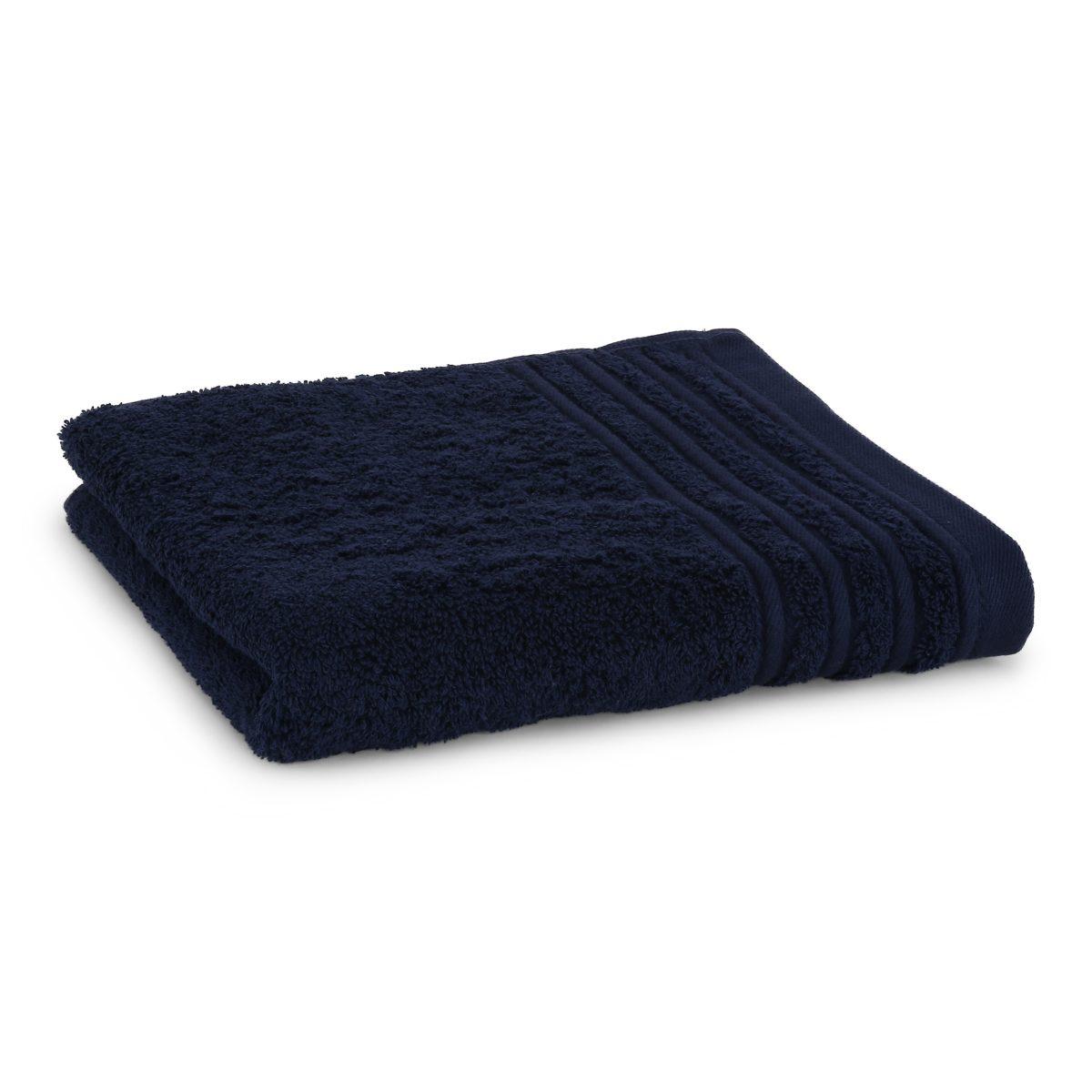 Håndklæde med broderet navn - mørk blå